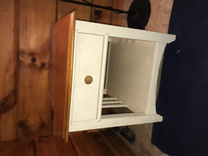 WHITE & OAK MISSION STYLE NIGHTSTANDS AND HEADBOARD!