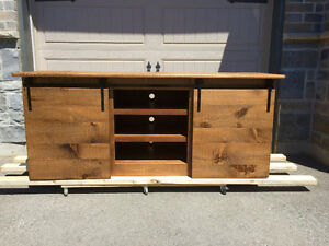 Sliding barn door tv stand