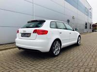 2010 10 reg Audi A3 2.0 TDI S Line Sportback + White + Black Part Leather