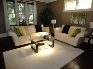 IVORY LEATHER SOFA AND LOVESEAT