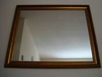 Large Wood Framed Bronze Gold Shade Mirror