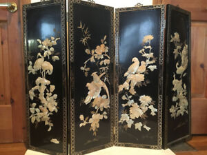 A Screen of Four Panels Mother of Pearl  Birds on Black Lacquer