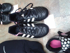 Girl's soccer shin pads/socks and shoes