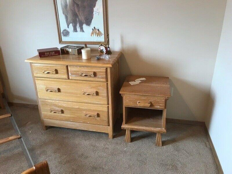 Ranch Oak Twin Bed cactus scene set mirror, dresser nightstand