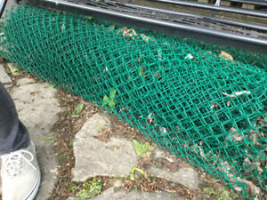 Used green vinyl chain link fence