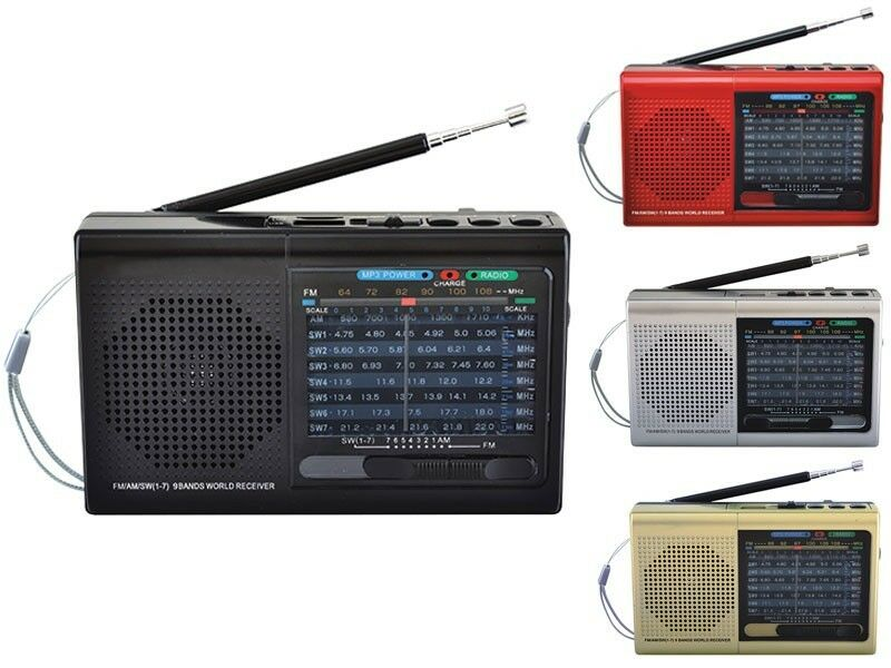 Supersonic SC-1080BT Rechargeable 9-Band AM/FM/SW1-7 Radio +Bluetooth +USB/SD