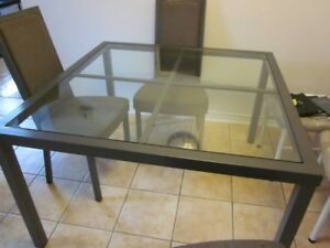 Kitchen Table -Thick Glass top - 4 highback cushy chairs