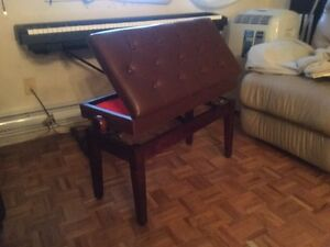 Long adjustable piano bench with storage