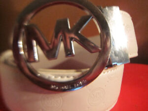 Michael Kors Brown And White Leather Belt and Buckle New Various