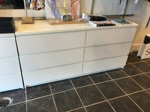 White Ikea Dressers with Glass Top