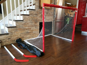 Hockey net with accessories