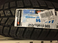 New 4 x 215/70R15 Hankook winter tires, 100% tread
