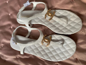 Brand New White Chanel Sandals