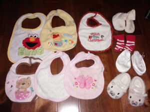 Small Lot of Infant Bibs and Slippers only $5