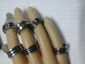 Mens stainless steel rings size 7 to 10