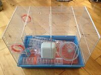 Hamster cage, wheel & house