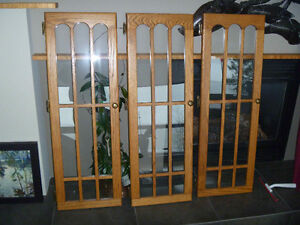 SOLID OAK DOOR WITH GLASS AND HINGES COMPLETE