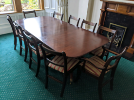 Solid mahogany dining table and 10 chairs