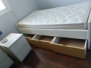 IKEA twin bed with storage and mattress