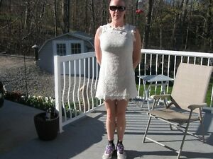 White Crochet Dress with white lining