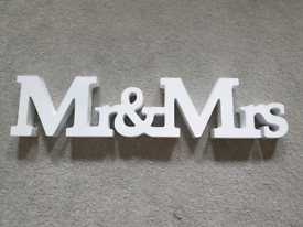 Mr and Mrs white wood ornament / sign / wedding