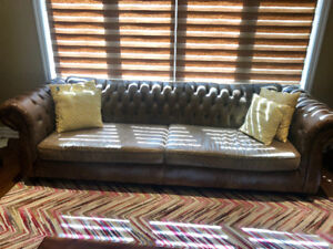 Rustic/ Distressed Leather,Tufted-Bespoke 4 seater sofa