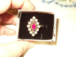 Sterling Silver Marquise Ruby and white Topaz ring, size 8