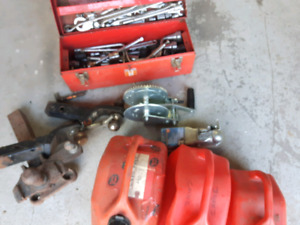 Trailer hitches, gas cans, sockets etc