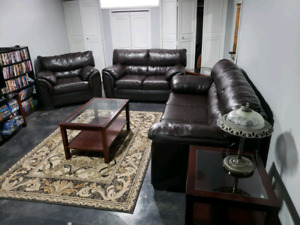 Leather sofa set and tables
