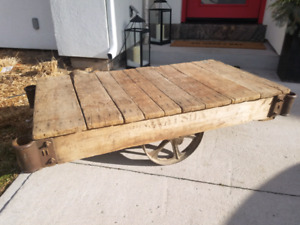 Vintage antique industrial mill rail cart coffee tables