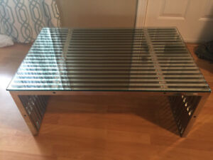 Contemporary glass & chrome plated stainless steel coffee table