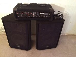 YORKVILLE 4 CHANNEL POWERED MIXER AND 2 HIGH END APEAKERS