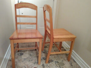 1950s SOLID WOOD CHAIRS (set of 2) AMAZING VINTAGE MID-CENTURY!