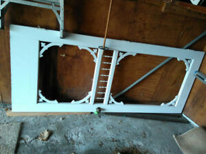 Solid wood Victorian screen door with glass+screen inserts-free