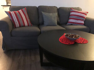 Dining table and chairs, Sofa, Coffee table, TV stand