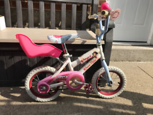 """12"""" Girl's Snow White bike with doll seat and helmet"""