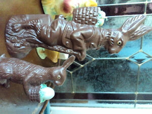 Two Brown Easter Bunnies