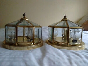 two brass finish ceiling lights