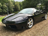 STUNNING BLACK ON BLACK FERRARI 360 MANUAL COUPE LHD