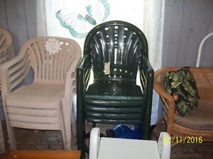 Four (4) Plastic Outdoor Lawn Chairs - Forest Green