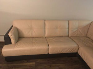 Beige colour leather comfy couch