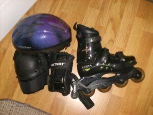 Roller Blades+ casque+genoux+gants  État A-1