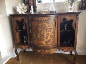 Antique inlaid wood display cabinet