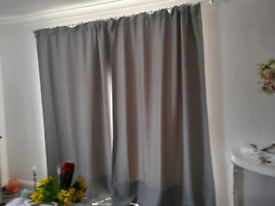 Pair of grey curtains
