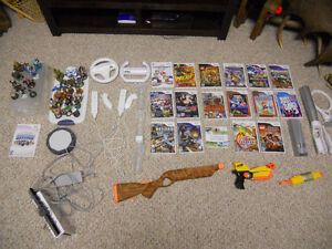 Nintendo Wii with many games and accessories