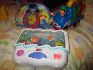 Various-Fisher Price Aquarium, car seat toy, building toy