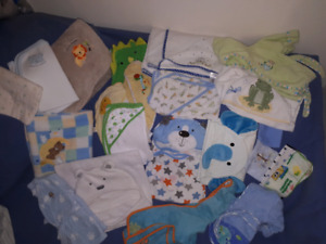 Baby Boy Bath or Beach Towels, Robes & Blankets Lot, 24 Items