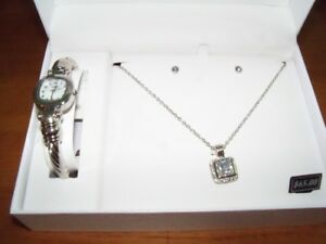 Watch/Earrings/Necklace Set, BRAND NEW, Silver Colour, in box