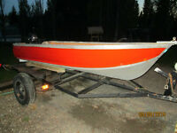 12 Ft Aluminum Boat, Motor + Trailer