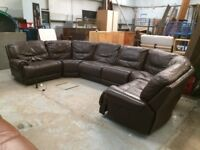 U Shaped modular / sectional sofa electric recliners either end leather REDUCED